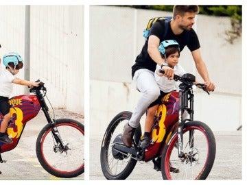 Piqué va a recoger al colegio a su hijo en bicicleta