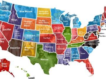 Mapa de EEUU según las series preferidas