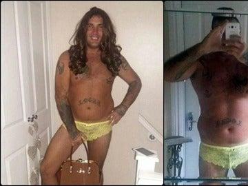 Karl Hughes, vistiendo ropa interior femenina para que el acosador de su novia la dejara tranquila