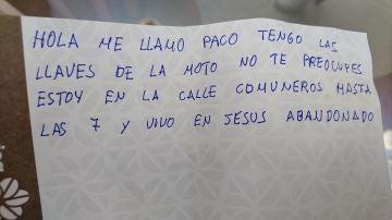 La nota con la que Paco devolvió las llaves a Pedro