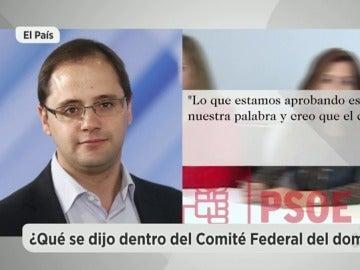 """César Luena en el Comité Federal: """"Con la abstención vamos a manchar al PSOE por muchos años y a limpiar al PP"""""""