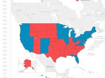 La evolución del voto en EEUU, estado por estado