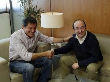 Javier Fernández y Miquel Iceta durante la reunión en Ferraz