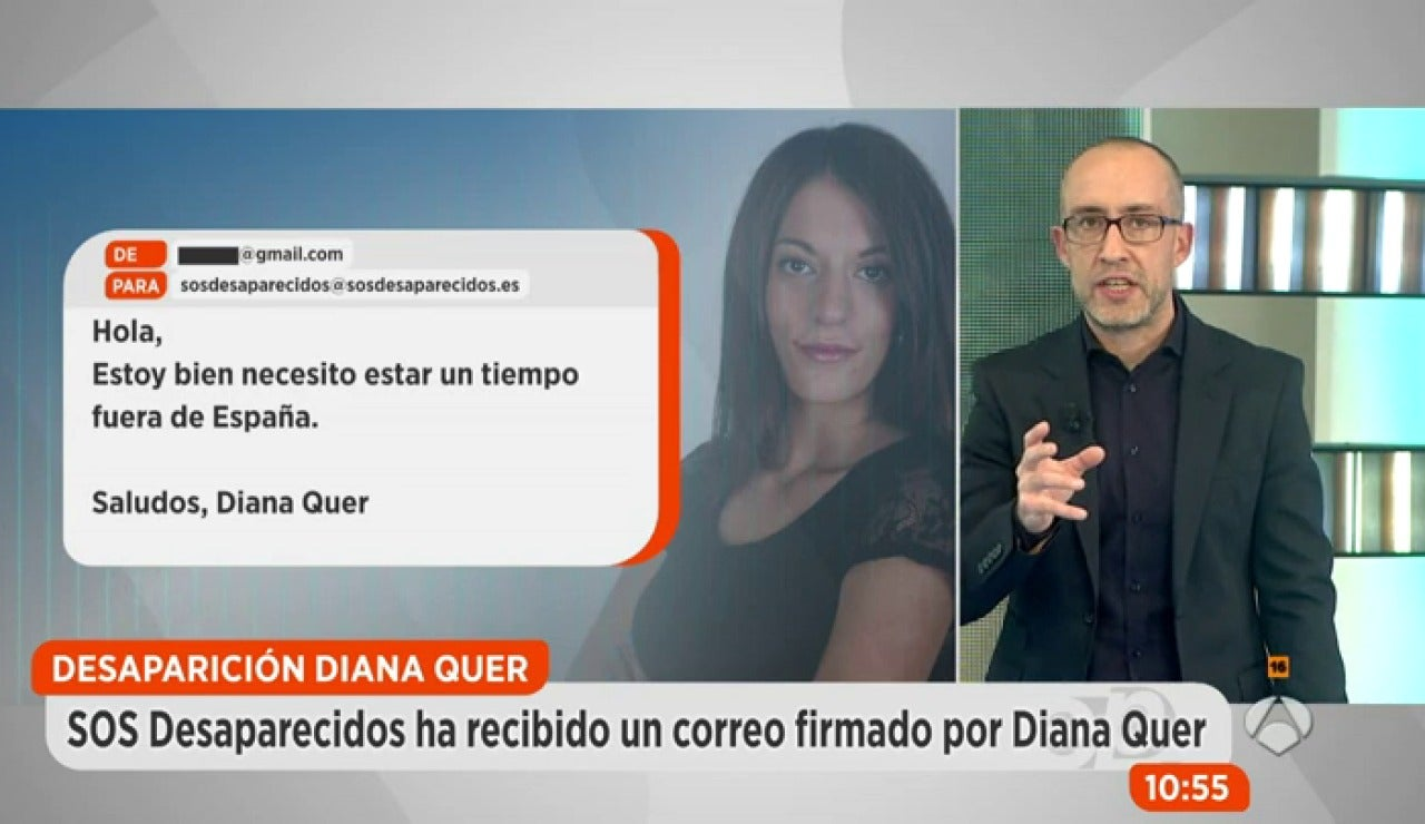SOS Desaparecidos recibe un correo electrónico firmado por 'Diana Quer' en el que asegura estar fuera de España