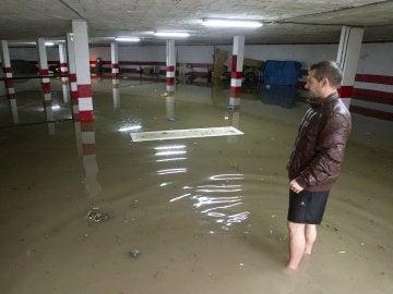 Un garaje inundado en Málaga