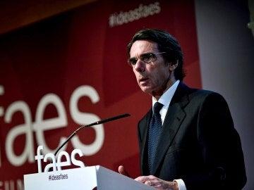 José María Aznar durante su discurso en el evento de la fundación FAES