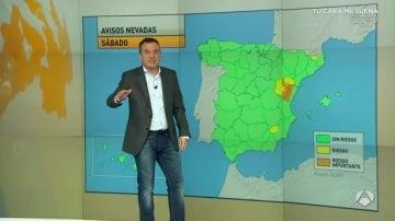 Alerta por nevadas en el este de España