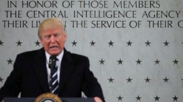 Donald Trump, en una rueda de prensa desde la CIA