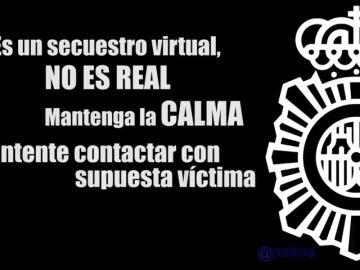 """Frame 41.315583 de: La Policía Nacional difunde un vídeo en el que detalla las pautas para evitar ser víctimas de un """"secuestro virtual"""""""