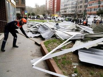 Cae un tejado en Pontevedra