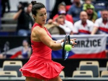 Lara Arruabarrena, durante su partido
