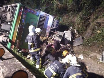 El autobús siniestrado en Taiwán