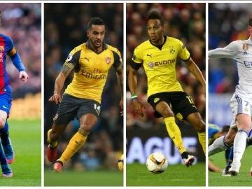 Leo Messi, Walcott, Aubameyang y Cristiano Ronaldo