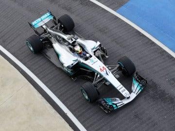 El Mercedes W08, visto desde las alturas