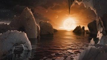 Concepto artístico de cómo podría ser la superficie del exoplaneta TRAPPIST-1f