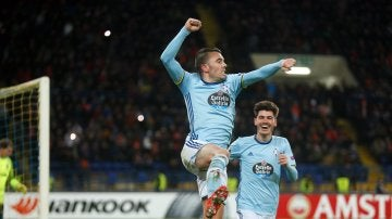 Aspas celebra el gol marcado con el Celta