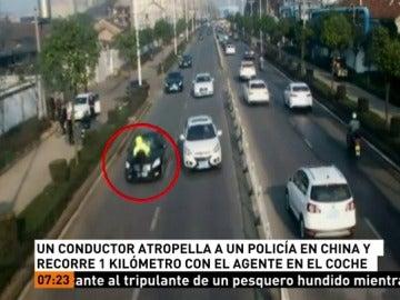 Atropella a un policía en un control y recorre un kilómetro con el agente subido en el capó