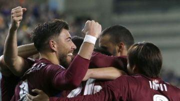 Los jugadores del Eibar celebran uno de los goles contra el Málaga
