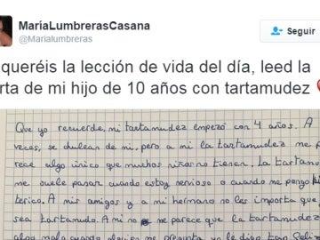 La carta viral publicada por María Lumbreras