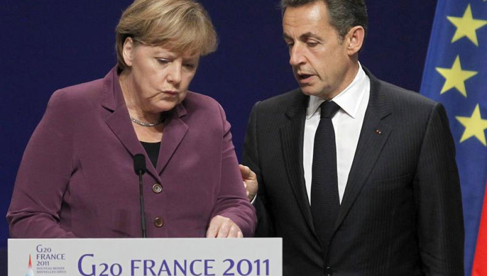 Merkel y Sarkozy, tras la reunión del G20