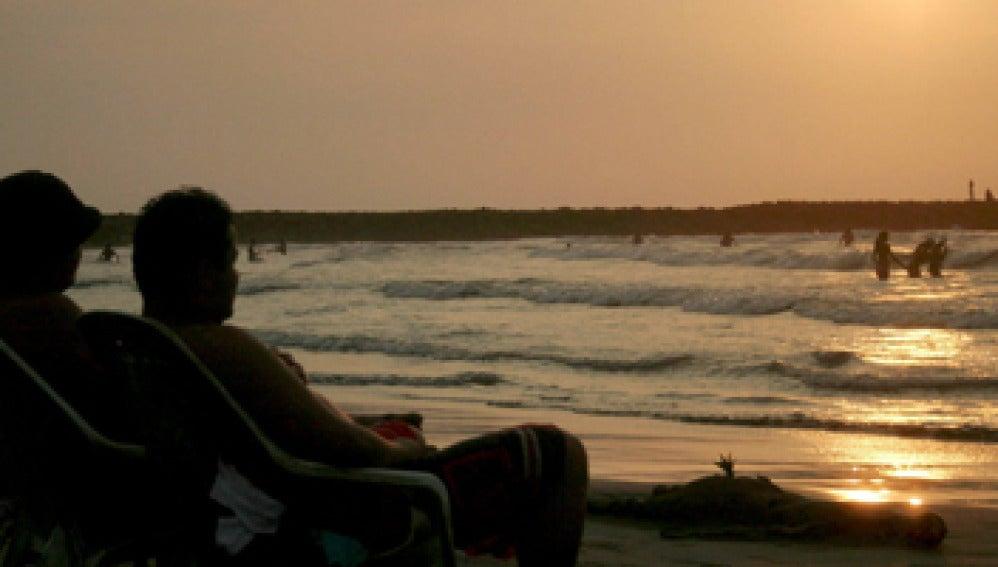 Anochecer en una playa
