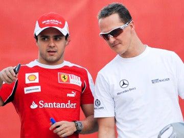 Schumacher, con su ex compeñero Massa