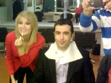 Luis Fraga y Sandra Golpe en maquillaje