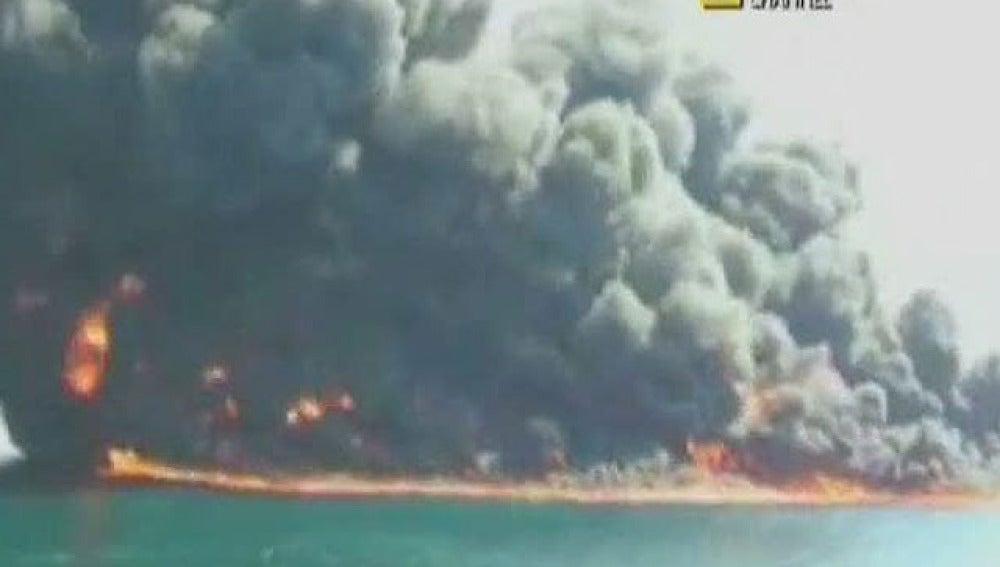 Imágenes de la explosión de la plataforma