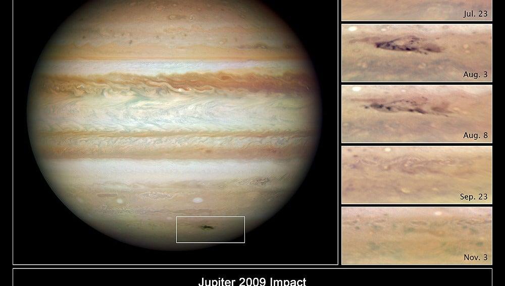 Pruebaas del impacto en Júpiter