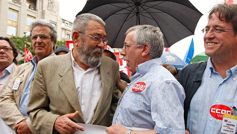 Toxo y Méndez durante una manifestación