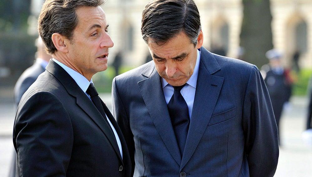 Nicolas Sarkozy con el primer ministro, François Fillon