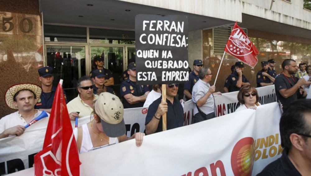 Trabajadores de Marsans en una manifestación del pasado 15 de julio
