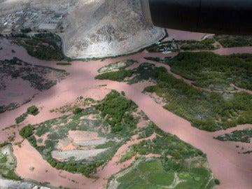 La zona inundada de la ciudad de Leh, en India