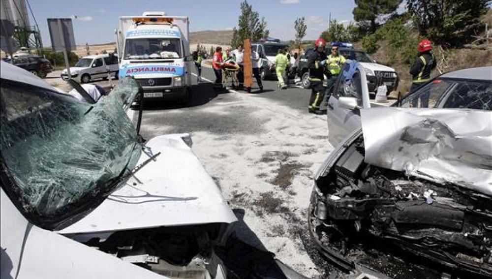 Dos coches colisionan en la A-62 en Salamanca