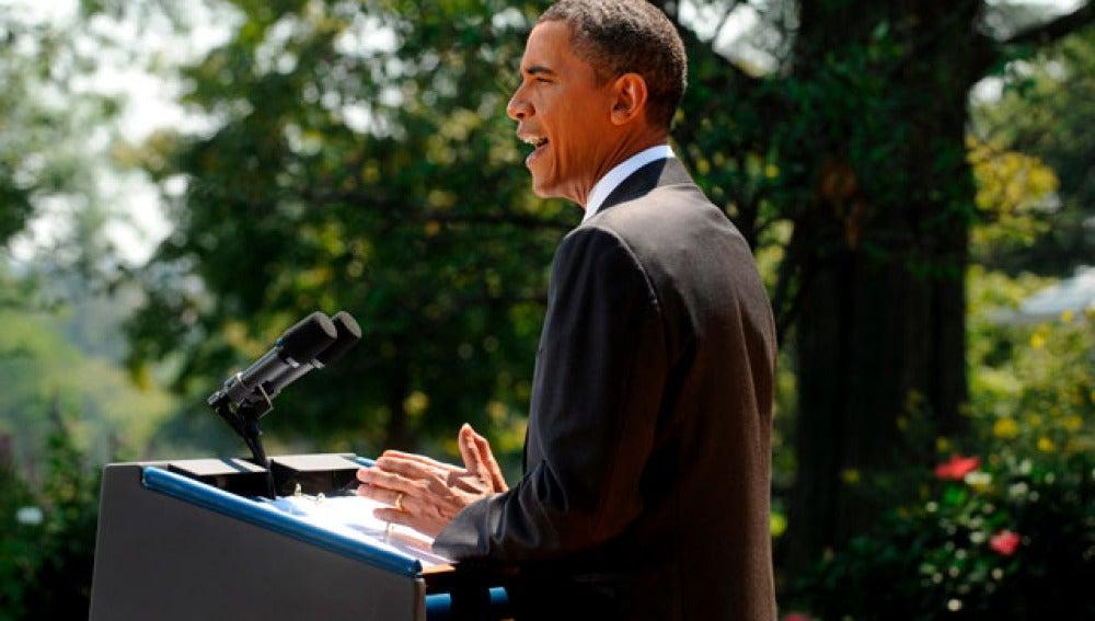 Barack Obama en los jardines de la Casa Blanca