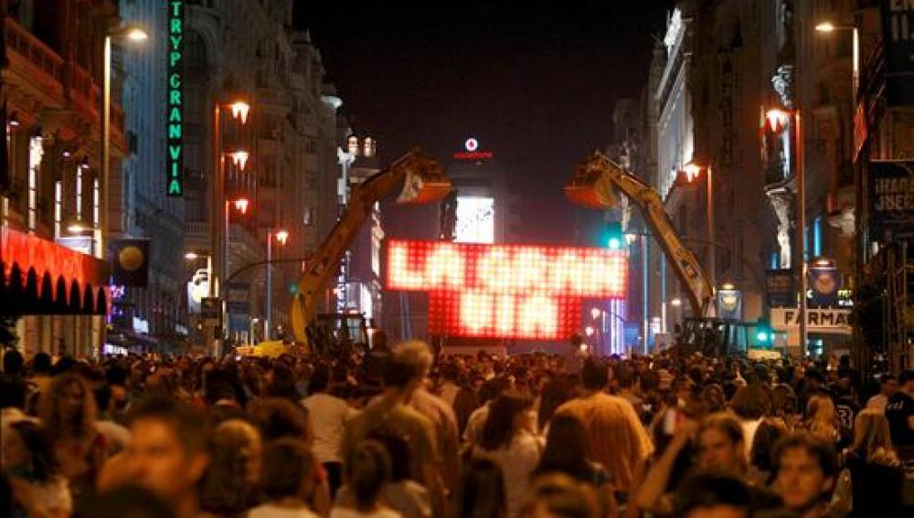 La Gran Via fue una de las protagonistas de esta espectacular noche madrileña
