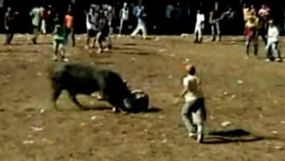 Un toro enviste a un hombre en Colombia