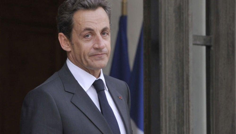 El presidente francés Nicolas Sarkozy en el palacio del Eliseo en París