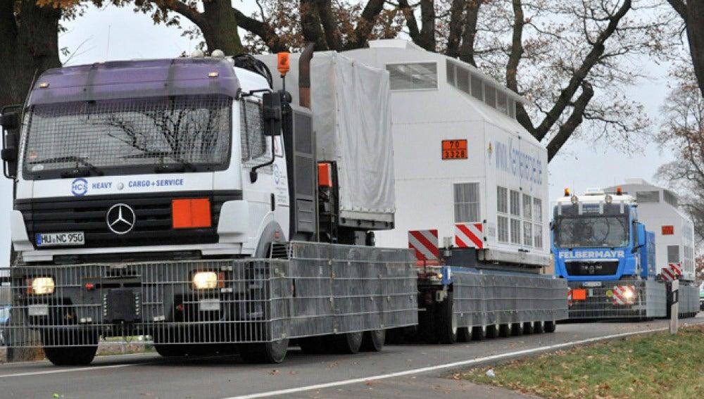 Los residuos nucleares llegan en camiones