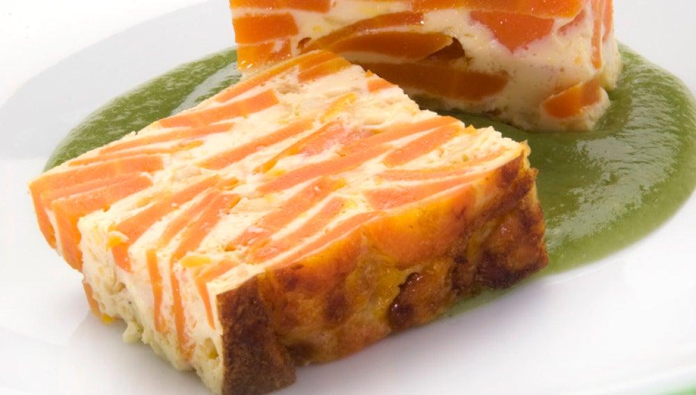 Flan de zanahoria y queso con crema de judías verdes
