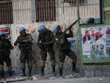 Soldados de los cascos azules en Haití