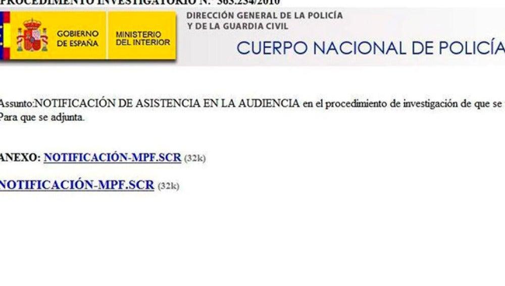 Imagen del contenido del correo del que ha alertado la Policía Nacional