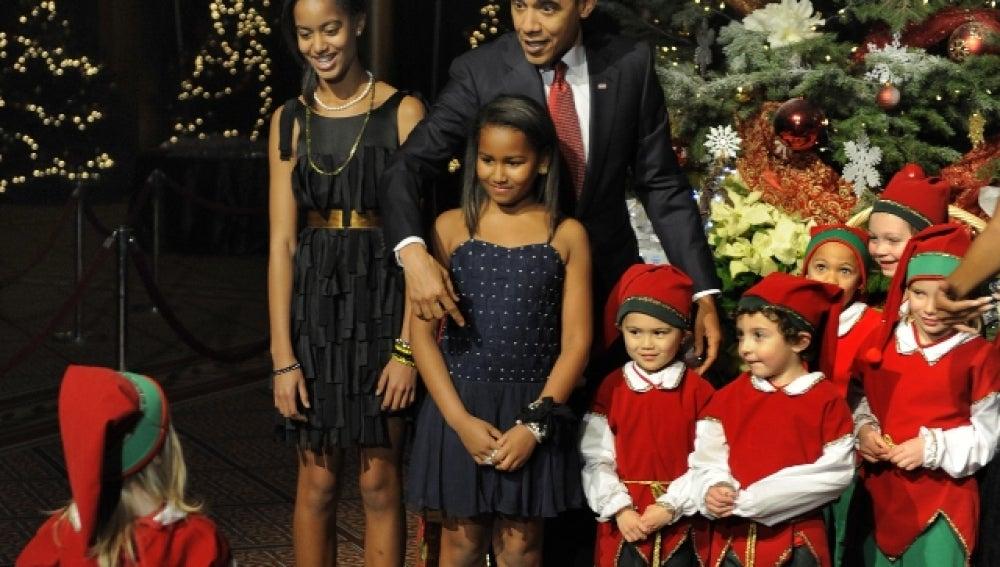 La familia Obama en el concierto de navidad