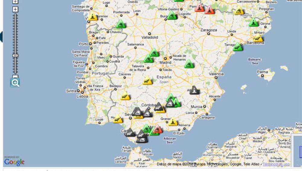 Tráfico lento en las carreteras españolas