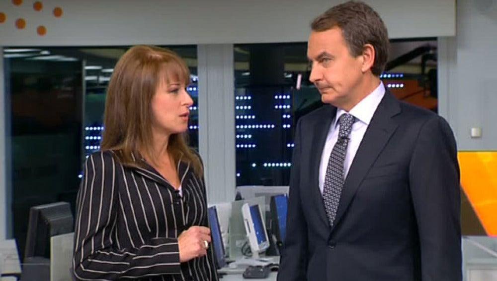 José Luis Rodríguez Zapatero durante su visita a Antena 3