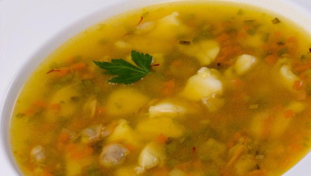 Sopa marinera con tapioca