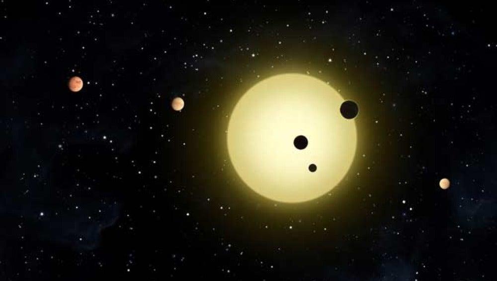 Recreación artística de los seis planetas descubiertos
