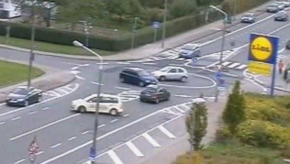 Caos en una rotonda en Alemania