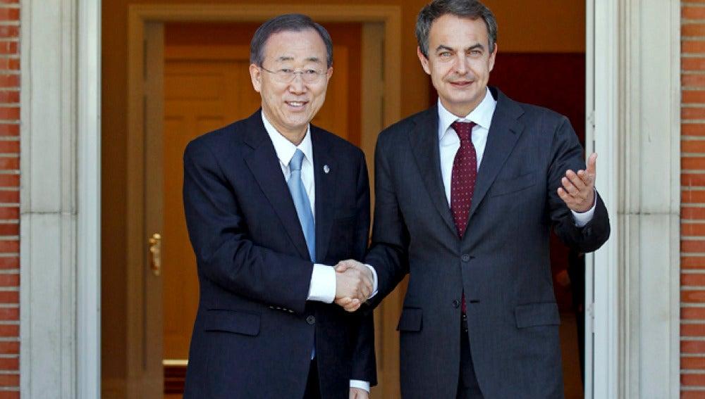 Zapatero y Ban Ki Moon, en la Moncloa
