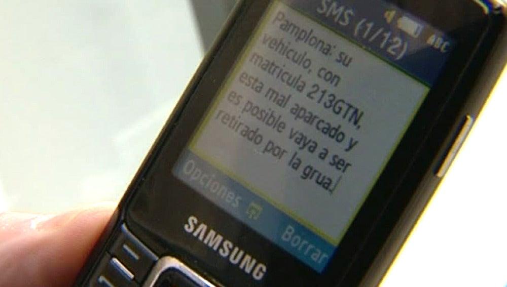 SMS que alerta de la llegada de la grúa
